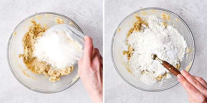 two overhead photos of a glass bowl showing the dry ingredients being added to this Edible Cookie Dough recipe