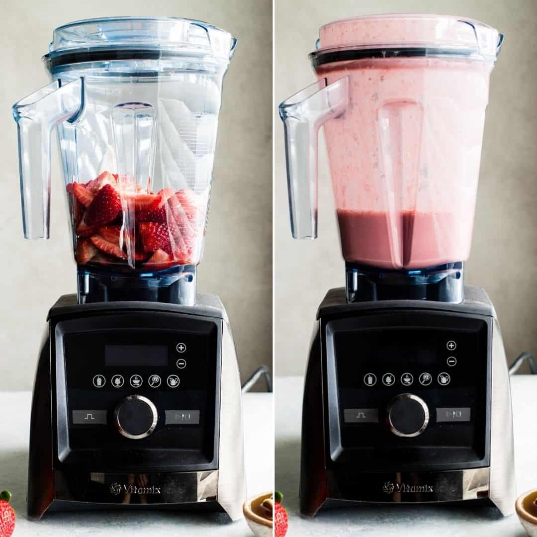 two photos, both showing a front view of a vitamix blender. The left photo has strawberries in the blender, the right photo shows the Homemade Fruit Popsicle mixture after blending.