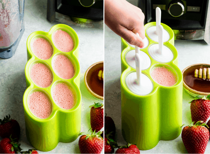 two photos with an overhead view of a green, six-well popsicle mold. The left photo shows the mold with all the wells filled with pink Homemade Fruit Popsicle mixture. The right photo shows a hand placing the lids and sticks onto the wells.