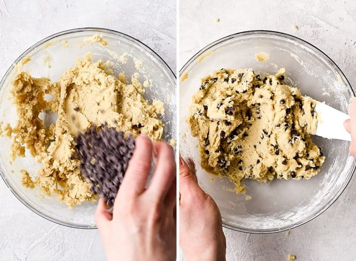 two overhead photos of a glass bowl showing the mini chocolate chips being added and mixed into this Edible Cookie Dough recipe
