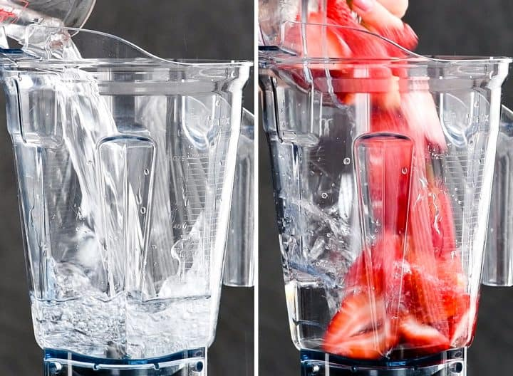 two front view photos, the left shows water being poured into the container of a vitamix blender. The right shows strawberries being poured into the container of a vitamix blender to make Homemade Strawberry Lemonade