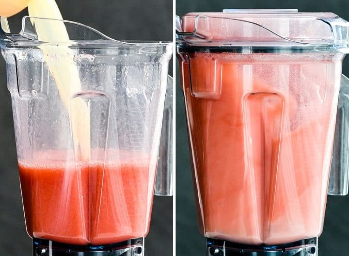 two front view photos of a vitamix blending container. the left shows lemon juice being poured into the container. the right shows the container with the lid on blending Homemade Strawberry Lemonade