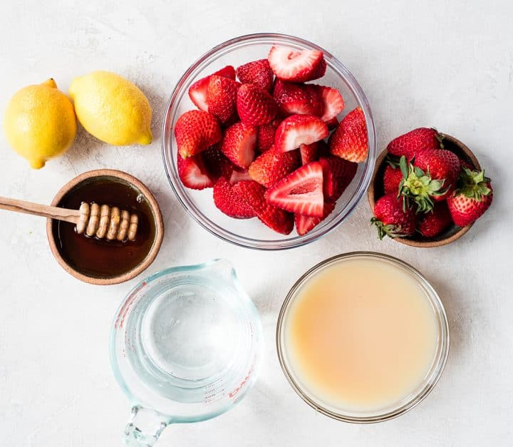 overhead view of the ingredients in this strawberry lemonade recipe