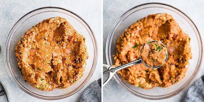 two overhead photos showing the Healthy Turkey Meatballs mixture in a glass bowl. the right photo shows some of the mixture being scooped out with a cookie scoop.