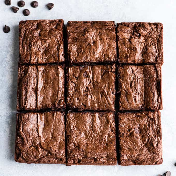 overhead view of the Brownie Recipe cut into 9 squares