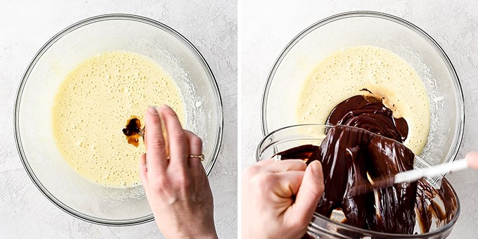 two overhead photos of a glass bowl with beaten egg/sugar mixture in it. the left shows a hand adding vanilla extract, the right shows the melted butter/chocolate mixture being poured in to make the Brownie Recipe