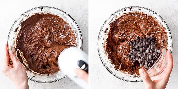 two overhead photos of a glass bowl. The right shows the brownie batter being mixed with a hand mixer. The right photo shows a hand add chocolate chips to the batter of this Brownie Recipe