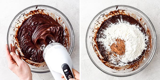 two overhead photos, the left shows the brownie batter being beaten with a hand mixer in a glass bowl, the right shows the dry ingredients added to the batter for the Brownie Recipe