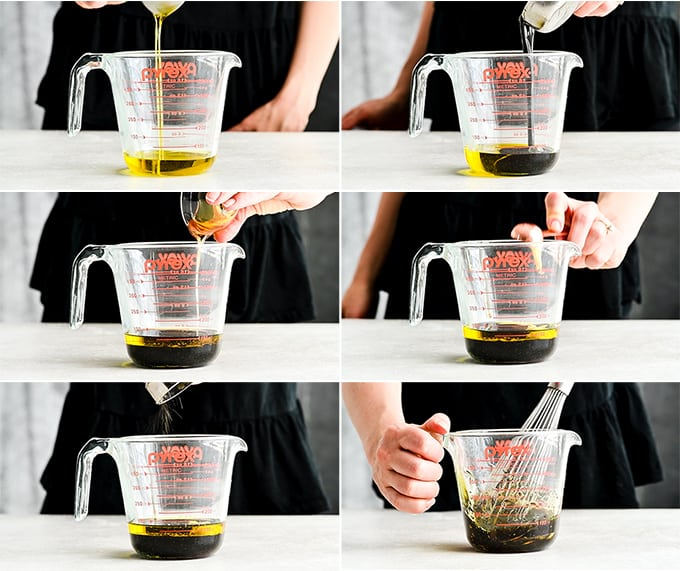 a collage of six photos showing the front view of a 2 cup pyrex container. Each one shows a step in making homemade balsamic vinaigrette to use on this burrata salad