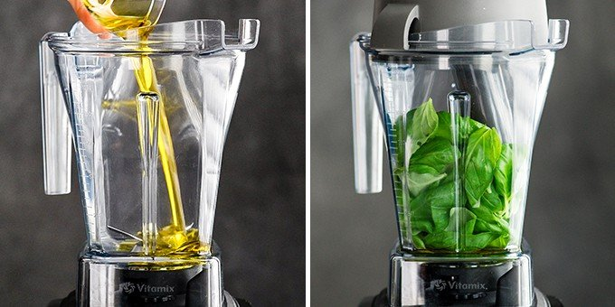 two front view photos of a vitamix blender container. The left photo shows olive oil being poured into the container, the right photo shows it full of fresh basil leaves. The first two steps in making this Basil Pesto Sauce Recipe