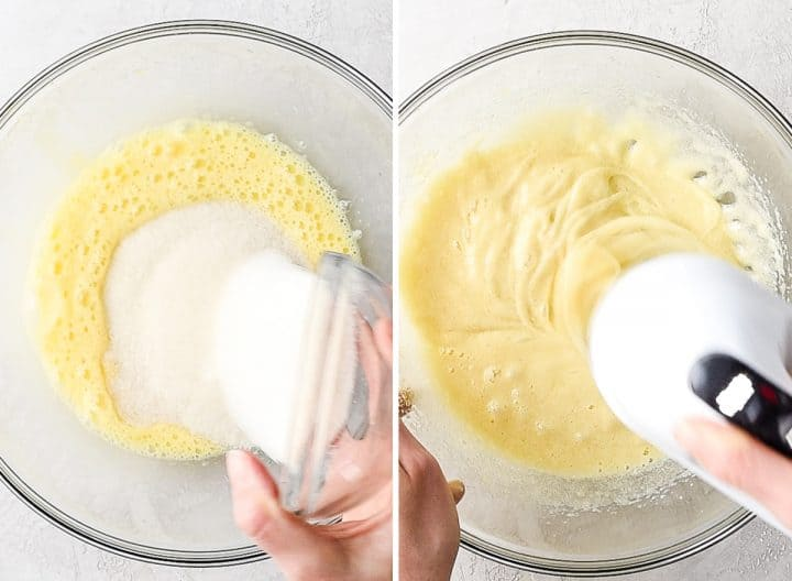 two overhead photos, the left shows a hand pouring sugar into beaten eggs, the right shows the eggs and sugar being beaten in a glass bowl with a hand mixer to make the Brownie Recipe