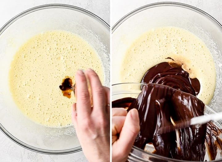 two overhead photos showing how to make brownies - adding vanilla and melted chocolate