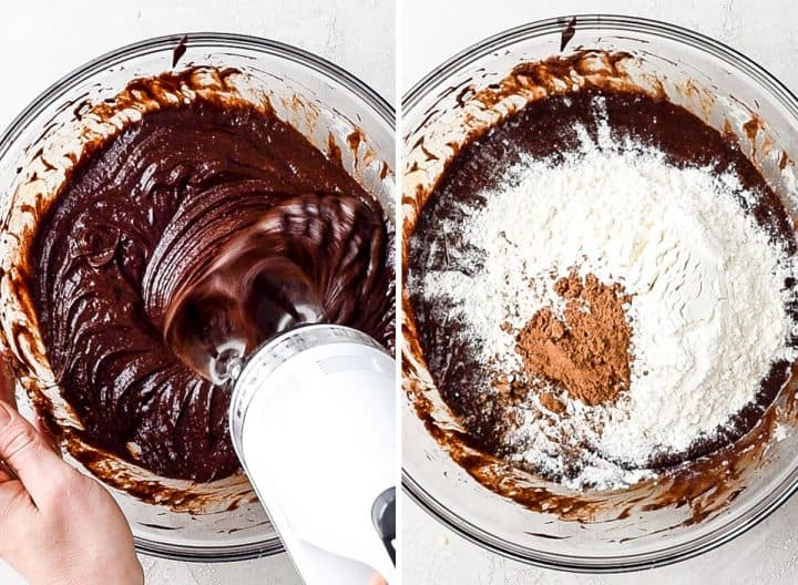 two overhead photos showing how to make brownies - beating batter and adding dry ingredients