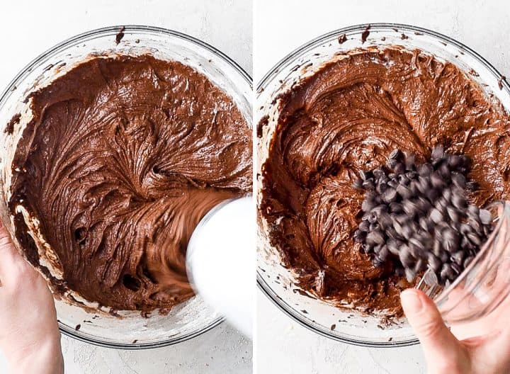 two overhead photos showing how to make brownies -beating batter and adding chocolate chips