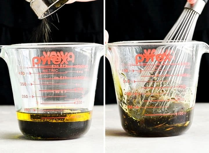 two photos showing how to make burrata salad dressing