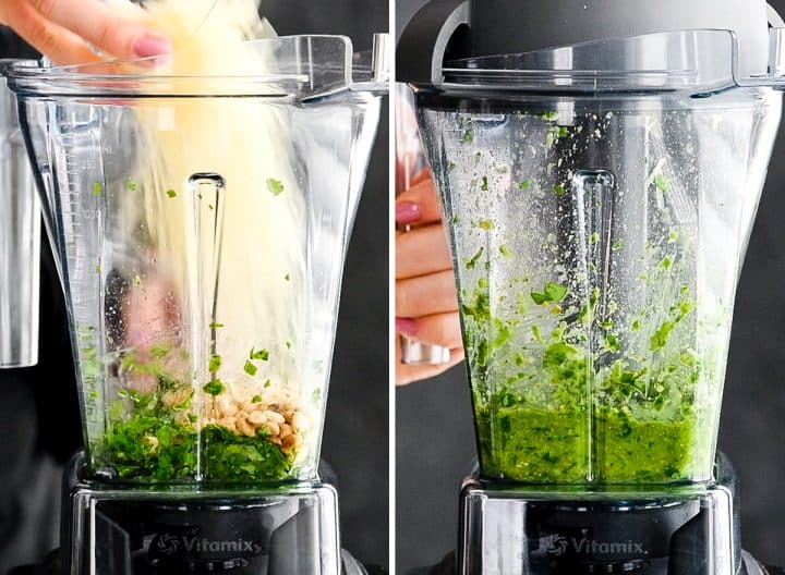 two front view photos of a Vitamix blender container. The left photo shows parmesan cheese being poured into the container, the right photo shows the final blended product, this Basil Pesto Sauce Recipe