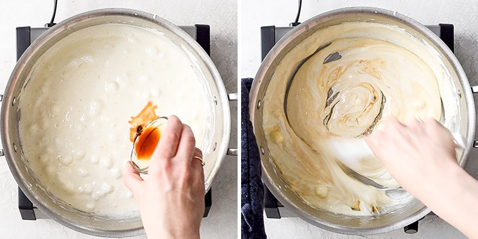 two overhead photos, the left shows vanilla extract being added to the melted butter/marshmallow mixture in a sauce-pot and the right shows a hand stirring the mixture