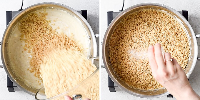 two overhead photos of a sauce pot, the left shows rice crispy cereal being poured in and the right shows a hand adding sea salt to the cereal