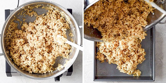 two overhead photos, the right shows the rice crispy treat mixture after being stirred, the left shows the mixture being poured into a baking pan