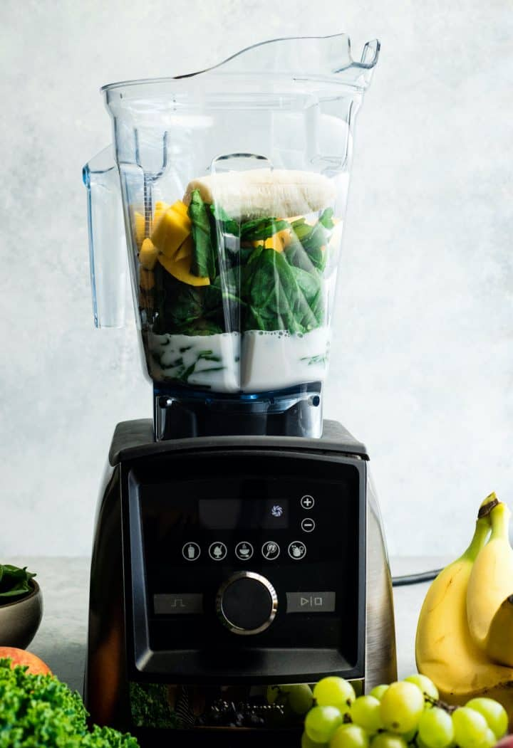 ingredients in a Vitamix A3500 blender to make this Green Smoothie Recipe
