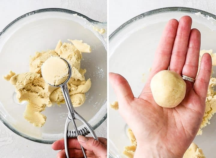 two overhead photos of a clear batter bowl, the left shows a cookie scoop with Snickerdoodle Cookie dough in it, the right shows a hand holding a rolled Snickerdoodle Cookie dough ball