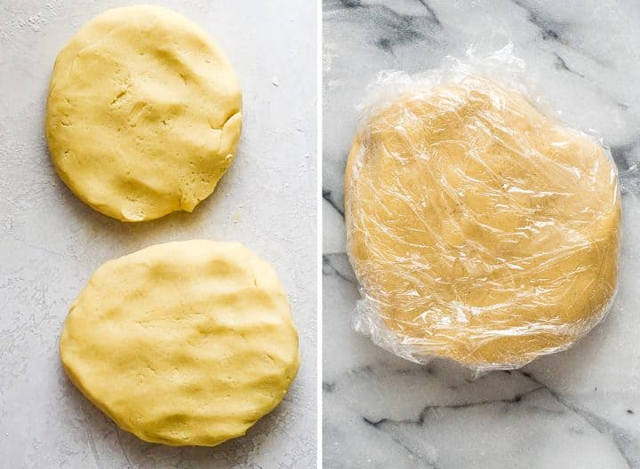 two overhead photos showing how to make sugar cookies, forming dough into discs and wrapping with plastic wrap