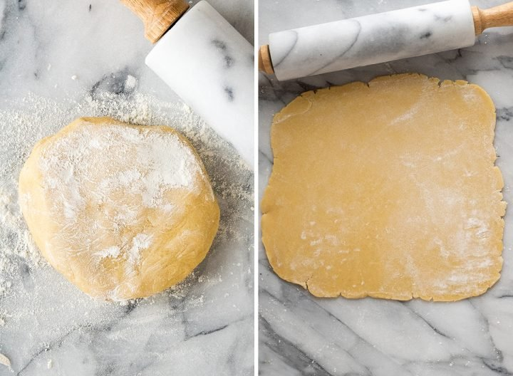 two photos showing how to make sugar cookies - rolling out the dough