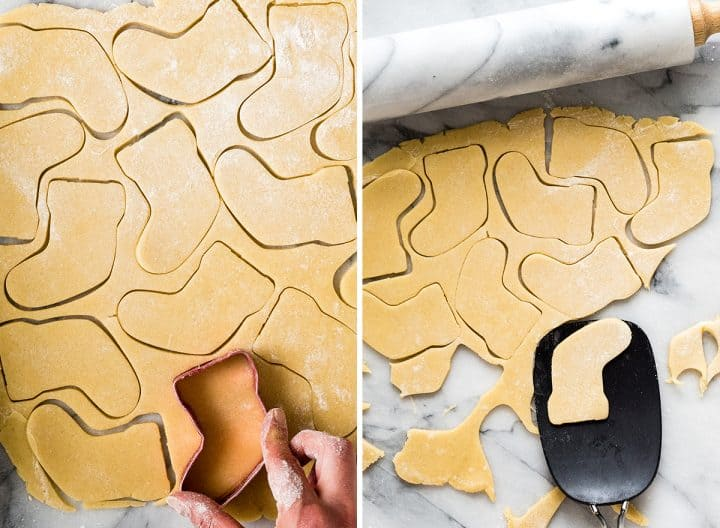 two overhead photos showing how to make sugar cookies, cutting them out into Christmas shapes