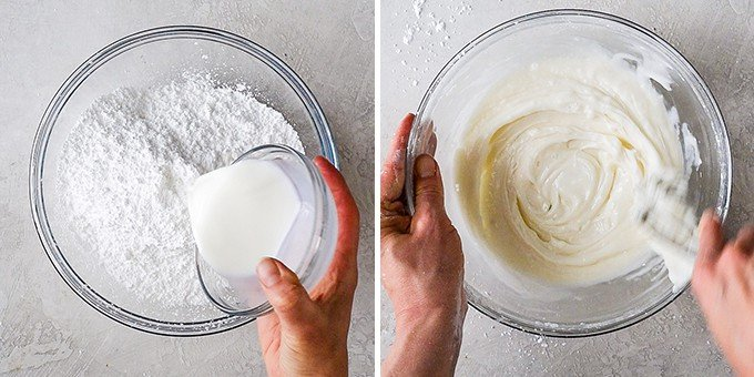 two overhead photos of a glass bowl. the left shows milk being added to powdered sugar and the right shows a hand stirring the sugar cookie frosting.