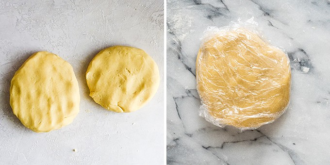 two overhead photos. The right shows two discs of Cut Out Sugar Cookie dough. The right shows one disc of cookie dough wrapped in plastic wrap.