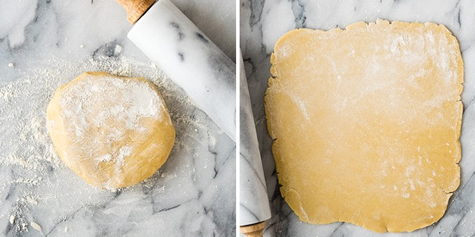two overhead photos. the left photo shows a floured disc of sugar cookie dough before rolling. The right photo shows a the dough after it has been rolled into a rectangle.
