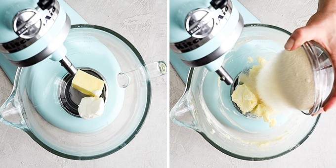 two overhead photos of a blue standing mixer. the left shows butter and shortening before being combined, the right shows a hand adding sugar to the butter/shortening mixture.