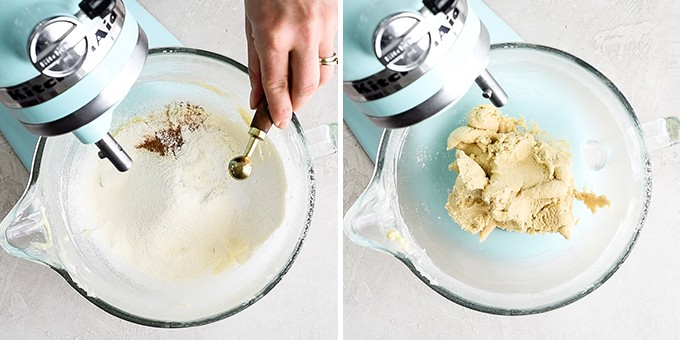 two overhead photos of a blue standing mixer, the left shows a hand adding salt to the bowl, the right shows the final Snickerdoodle Cookie dough