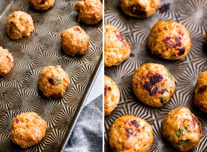 two overhead photos, the left shows unbaked Healthy Turkey Meatballs on a baking sheet before baking, the right shows the meatballs on the baking sheet after they have been baked.