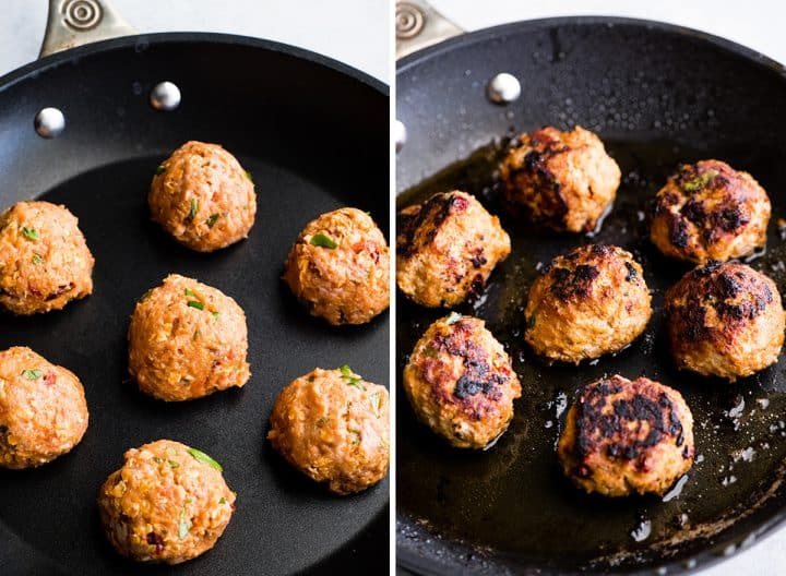 two overhead photos of Healthy Turkey Meatballs in a nonstick fry pan. the left shows them before cooking, the right shows them once they have been cooked.