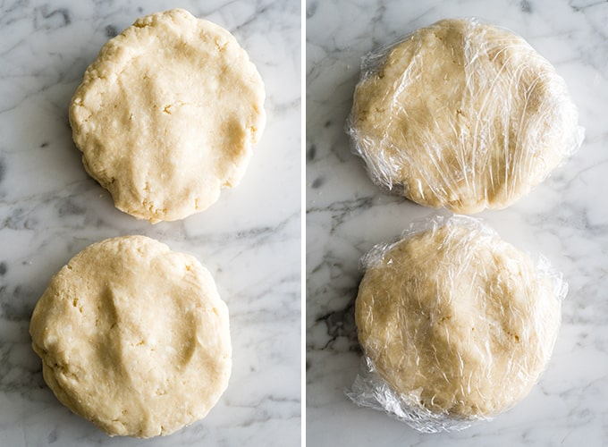 two overhead photos of two discs of apple pie crust dough, in the right pic the dough discs are wrapped in plastic wrap.