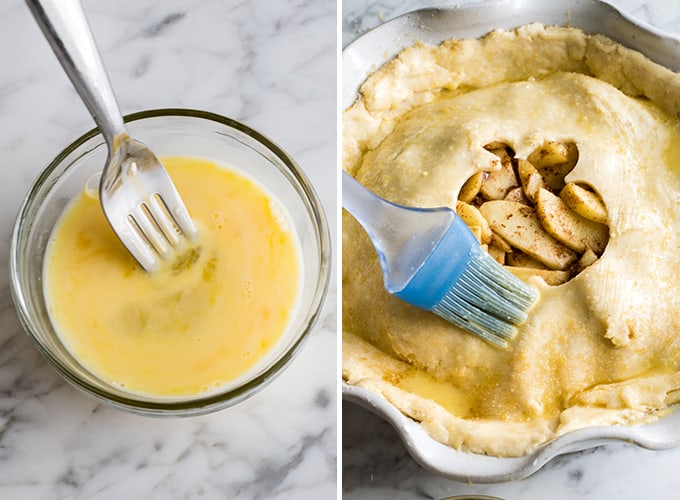 two photos showing mixing and brushing the egg wash onto the apple pie recipe