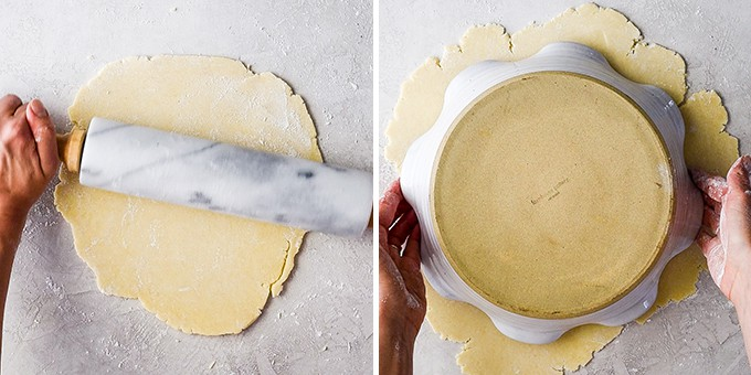 two overhead photos showing rolling and measuring the apple pie crust dough