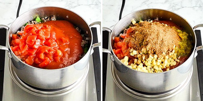 two front-view photos of a saucepan. The left shows adding the diced tomatoes, and the right shows adding seasoning and corn in this Easy Chili Recipe