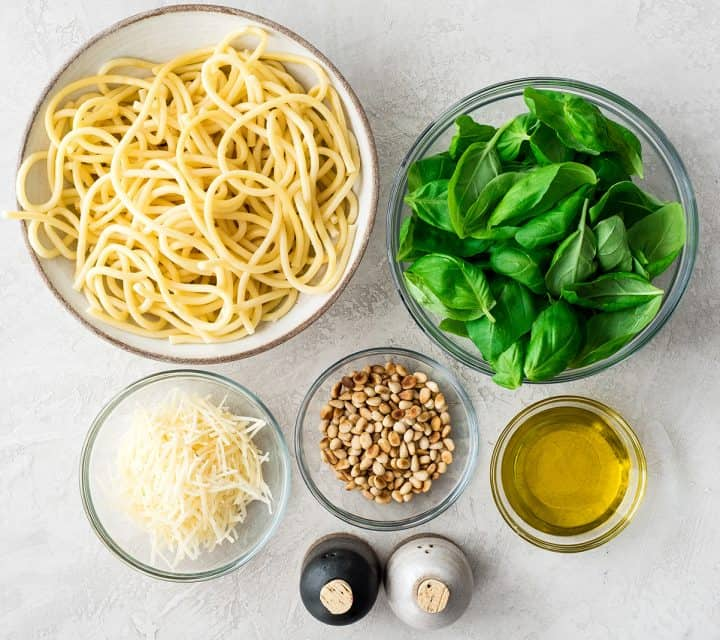 overhead photo of the ingredients in this Homemade Pesto Recipe