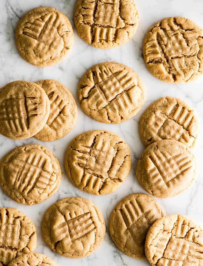 overhead view of 14 peanut butter cookies