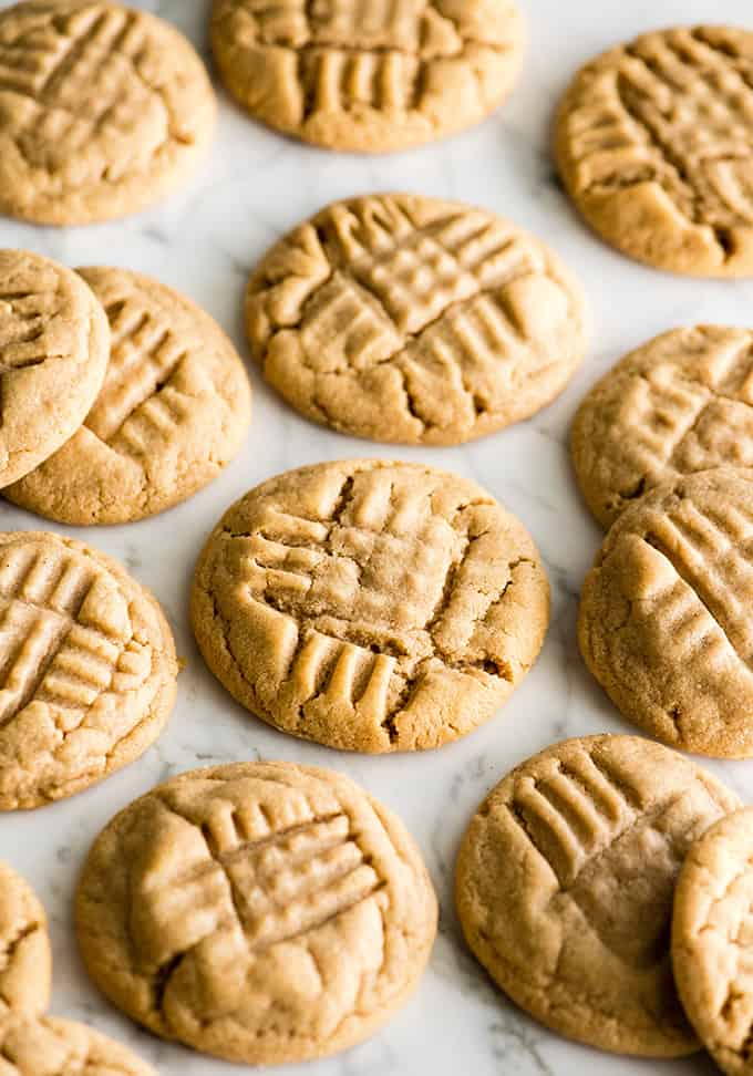 front view of 12 peanut butter cookies