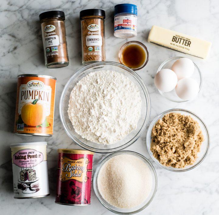 overhead view of the ingredients in this Pumpkin Pie Recipe