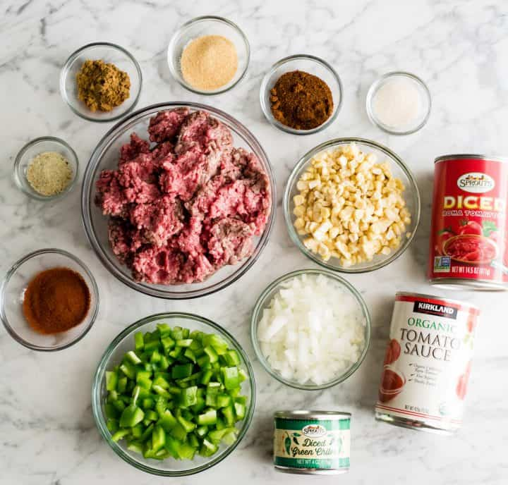 overhead photo of the ingredients in this Beef Chili recipe