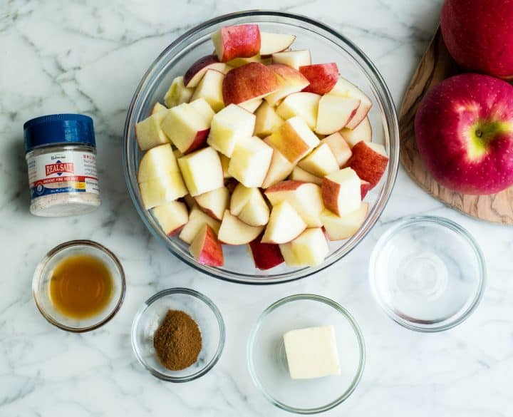 overhead view of the ingredients in this cinnamon apples recipe