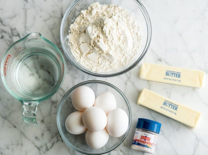 overhead view of the choux pastry ingredients