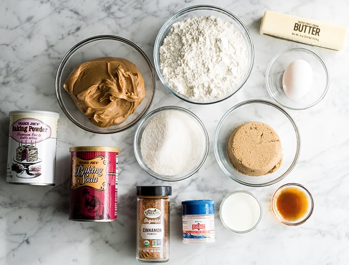 overhead view of the ingredients in this peanut butter cookie recipe