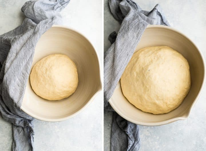 two overhead photos showing how to make pretzel bite dough before and after rising