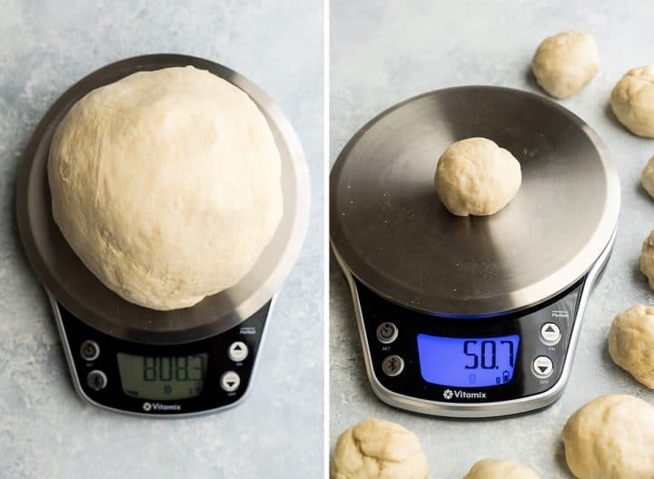 two photos, the left is an overhead shot of the whole batch of pretzel bite dough on a food scale. The right shows one portion of cheese-stuffed pretzel bite dough being weighed