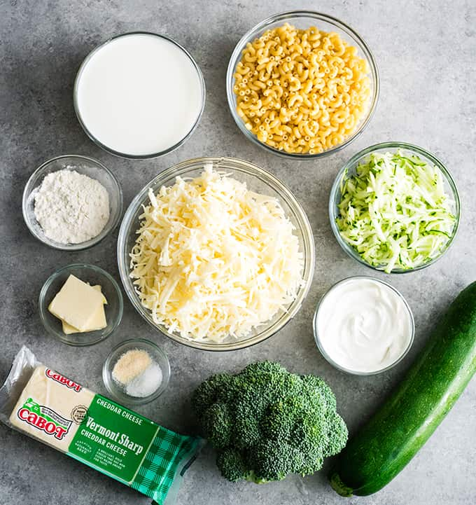 overhead view of the ingredients in vegetable mac and cheese